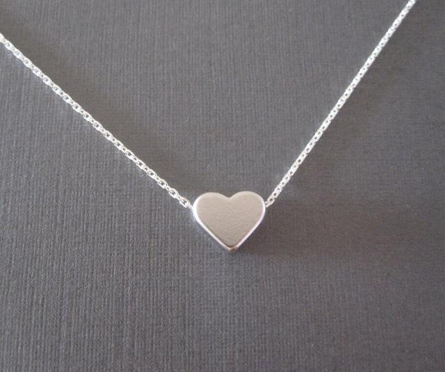 Necklaces-silver-Tiny Heart Shape Pendant on a Long Classic Necklace for a Woman's Vegan Lifestyle
