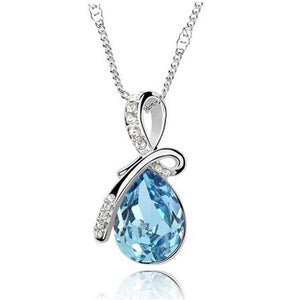 Necklaces-Sky Blue-Austrian Crystal Classic Necklace for a Woman's Vegan Lifestyle
