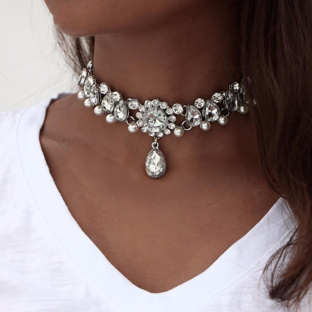 Necklaces-Classic Choker Water Drop Crystal Beads & Simulated Pearl Necklace for a Woman's Vegan Lifestyle