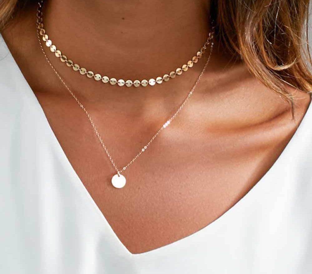 Necklaces-Gold Coin Multilayered Classic Choker Necklace for a Woman's Vegan Lifestyle