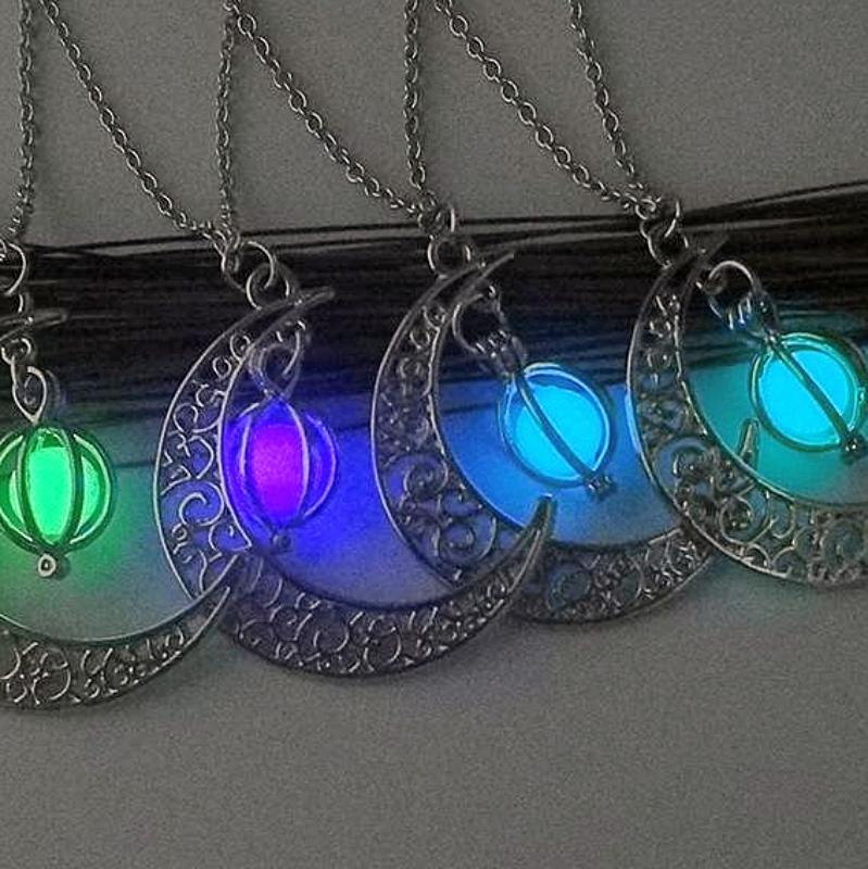 Necklaces-Luminous Stone & Metallic Moon Pendant & Necklace for a Woman's Vegan Lifestyle