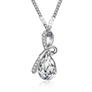 Necklaces-White-Austrian Crystal Classic Necklace for a Woman's Vegan Lifestyle