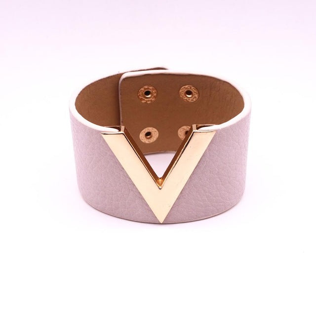 "Vegan Leather Gold or Silver Metallic ""V"" Bracelet for a Woman's Vegan Lifestyle"
