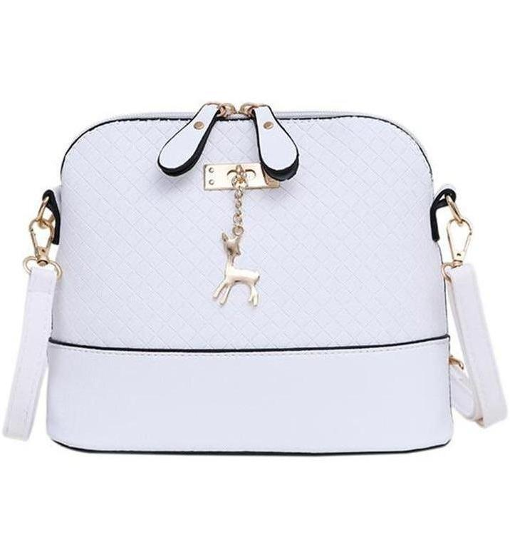 Bags-white-Vegan Leather Handbag (White & Mint Green Editions) with Cute Deer Pendant by Yogodlns for a Woman's Vegan Lifestyle-VeganSnatched.com