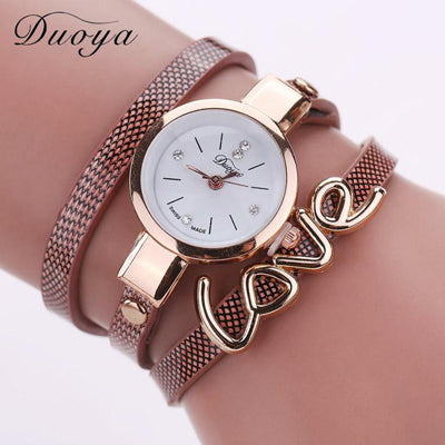Vegan Leather Bracelet with Love Pendant Watch by Duoya for a Woman's Vegan Lifestyle
