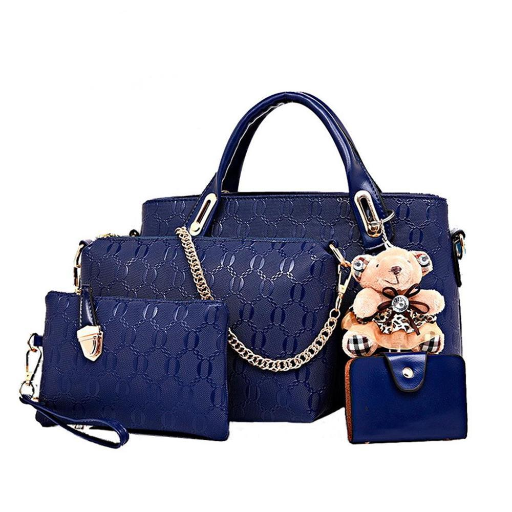 Bags-Blue-Vegan Leather 4 Piece Bag Set by Etonteck for a Woman's Vegan Lifestyle-VeganSnatched.com