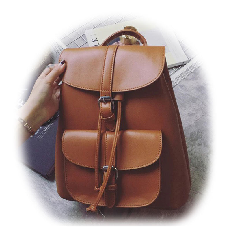 Bags-Vegan Leather Backpack with Drawstring by Miyahouse for a Woman's Vegan Lifestyle-VeganSnatched.com