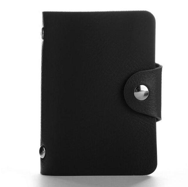 Wallets-black-PU Leather 24 Credit Card Holder for any Vegan Lifestyle