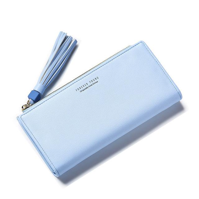 Wallets-Blue-PU Leather Forever Young Large Wallet with Tassel for a Woman's Vegan Lifestyle