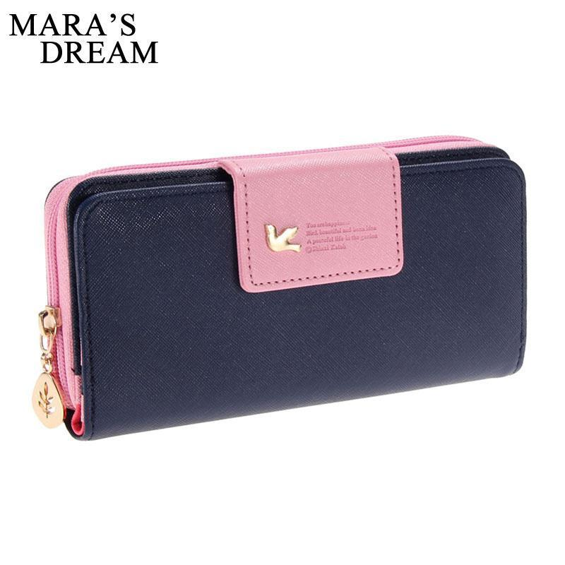 Wallets-Blue-PU Leather Long Zipper Wallet by Mara's Dream for a Woman's Vegan Lifestyle