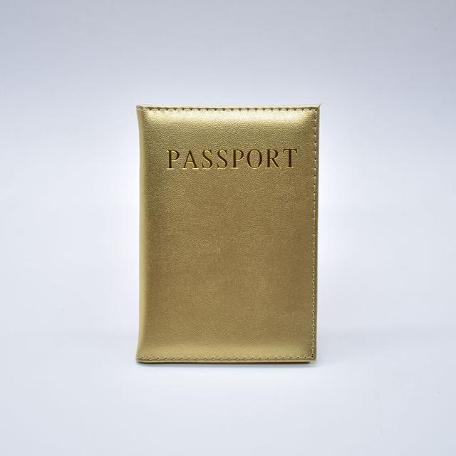 Wallets-Gold/gold-PU Leather Passport/ID Wallet for any Vegan Lifestyle