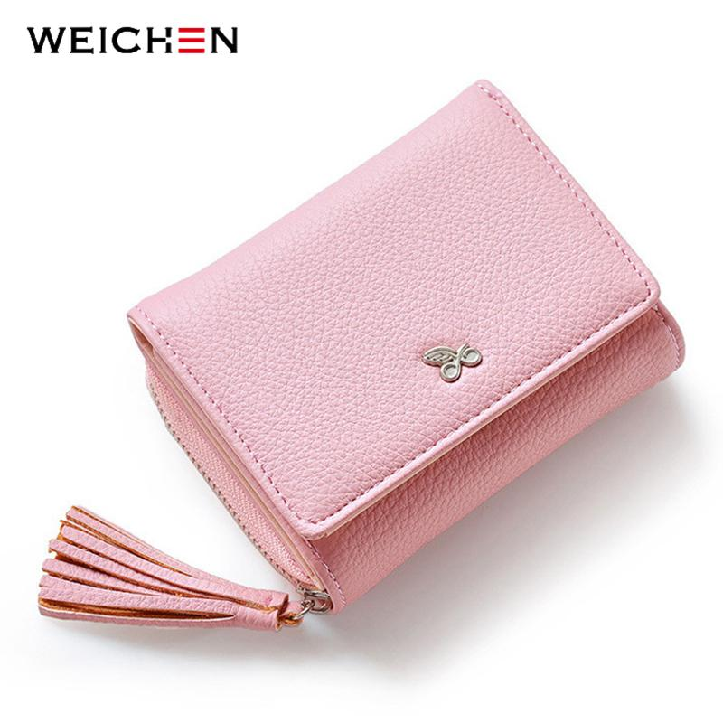Wallets-Pink-PU Leather Short Wallet with Tassel by Weichen for a Woman's Vegan Lifestyle