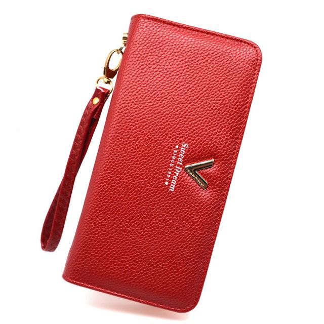 Wallets-Red-PU Leather Sweet Dream Long Wallet for a Woman's Vegan Lifestyle
