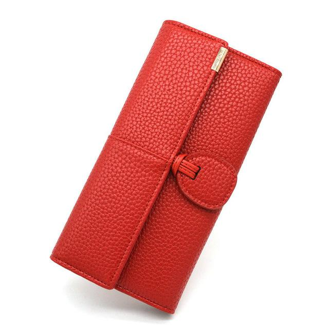 Wallets-Red-PU Leather Wallet for a Woman's Vegan Lifestyle