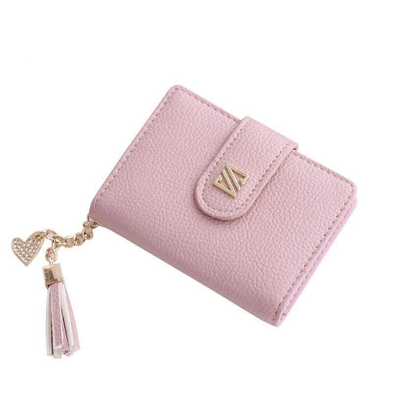 Wallets-PU Leather 20 Credit Card Holder with Rhinestone Pendant & Tassel for a Woman's Vegan Lifestyle