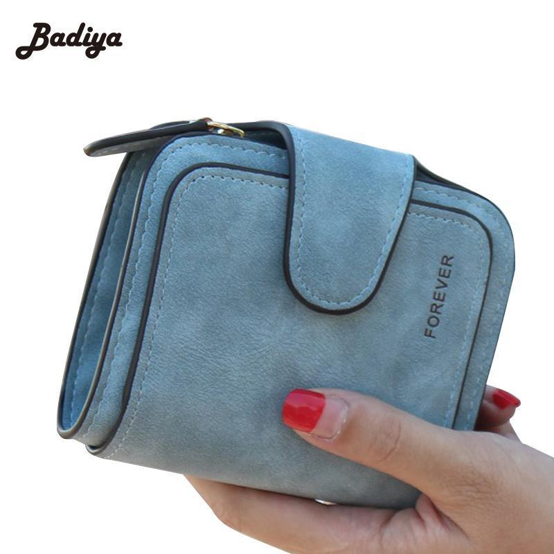 Wallets-PU Leather Forever Short Zipper Wallet by Badiya for a Woman's Vegan Lifestyle