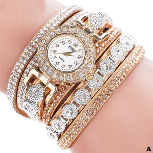 Watches-a-PU Leather Multi-layer Rhinestone Bracelet Watch for a Woman's Vegan Lifestyle