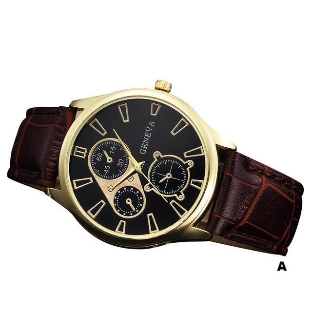 Watches-a-PU Leather Retro Design Watch by Geneva for a Man's Vegan Lifestyle