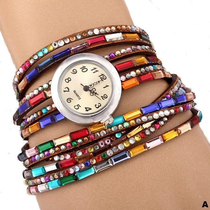 Watches-a-PU Leather Rhinestone Multi-layer Rainbow Bracelet Watch for a Woman's Vegan Lifestyle