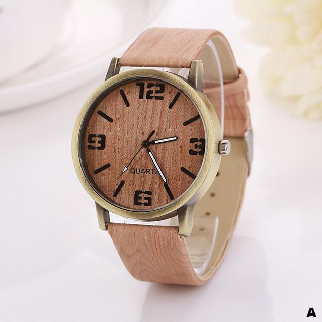 Watches-a-PU Leather Wood Pattern Watch for any Vegan Lifestyle