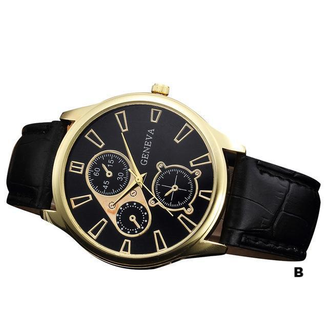 Watches-b-PU Leather Retro Design Watch by Geneva for a Man's Vegan Lifestyle
