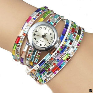 Watches-b-PU Leather Rhinestone Multi-layer Rainbow Bracelet Watch for a Woman's Vegan Lifestyle