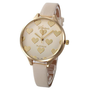 Watches-Beige-PU Leather Heart Pattern Watch by Geneva for a Woman's Vegan Lifestyle