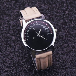 Watches-Beige-PU Leather Luxury Analog Watch for a Man's Vegan Lifestyle
