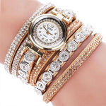 Watches-Beige-PU Leather Multi-layer Rhinestone Bracelet Wrist Watch by CCQ for a Woman's Vegan Lifestyle