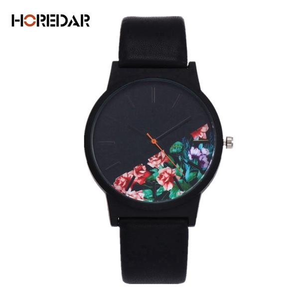 Watches-Black (a)-PU Leather Half-Moon Floral Pattern Watch by Horedar for a Woman's Vegan Lifestyle