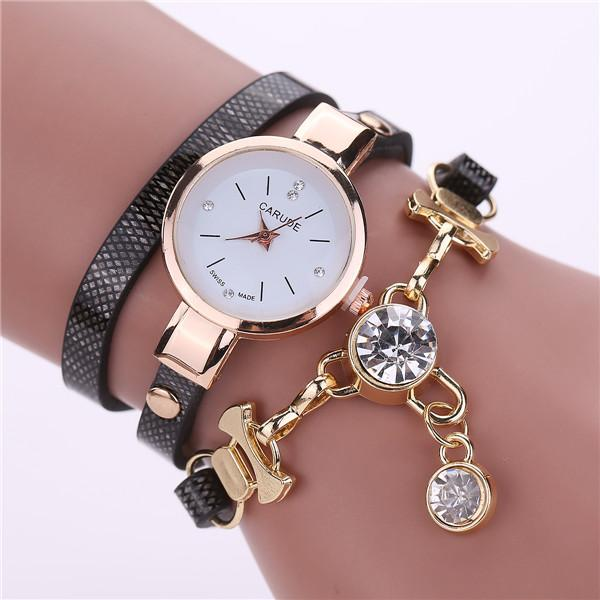 Watches-black-PU Leather Bracelet & Crystal Pendant Watch by Carude for a Woman's Vegan Lifestyle