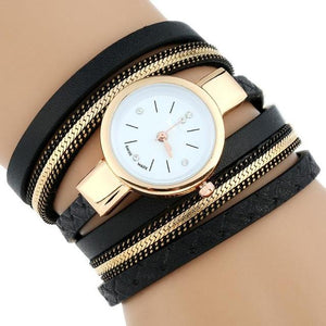 Watches-Black-PU Leather Bracelet Wrist Watch for a Woman's Vegan Lifestyle