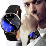 Watches-Black-PU Leather Business Wrist Watch by Yazole for a Man's Vegan Lifestyle