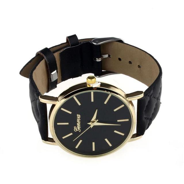 Watches-black-PU Leather Casual Wrist Watch by Geneva for a Woman's Vegan Lifestyle
