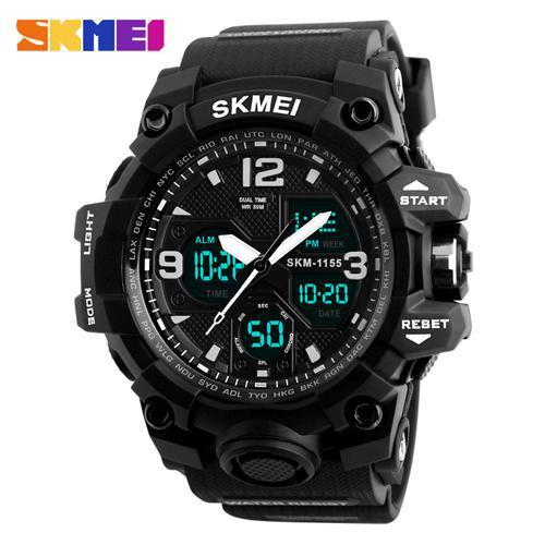 Watches-Black-PU Leather Digital Sports Watch by Skmei for a Man's Vegan Lifestyle