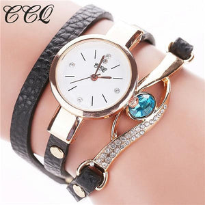 Watches-black-PU Leather Faux Gemstone Bracelet Watch by CCQ for a Woman's Vegan Lifestyle