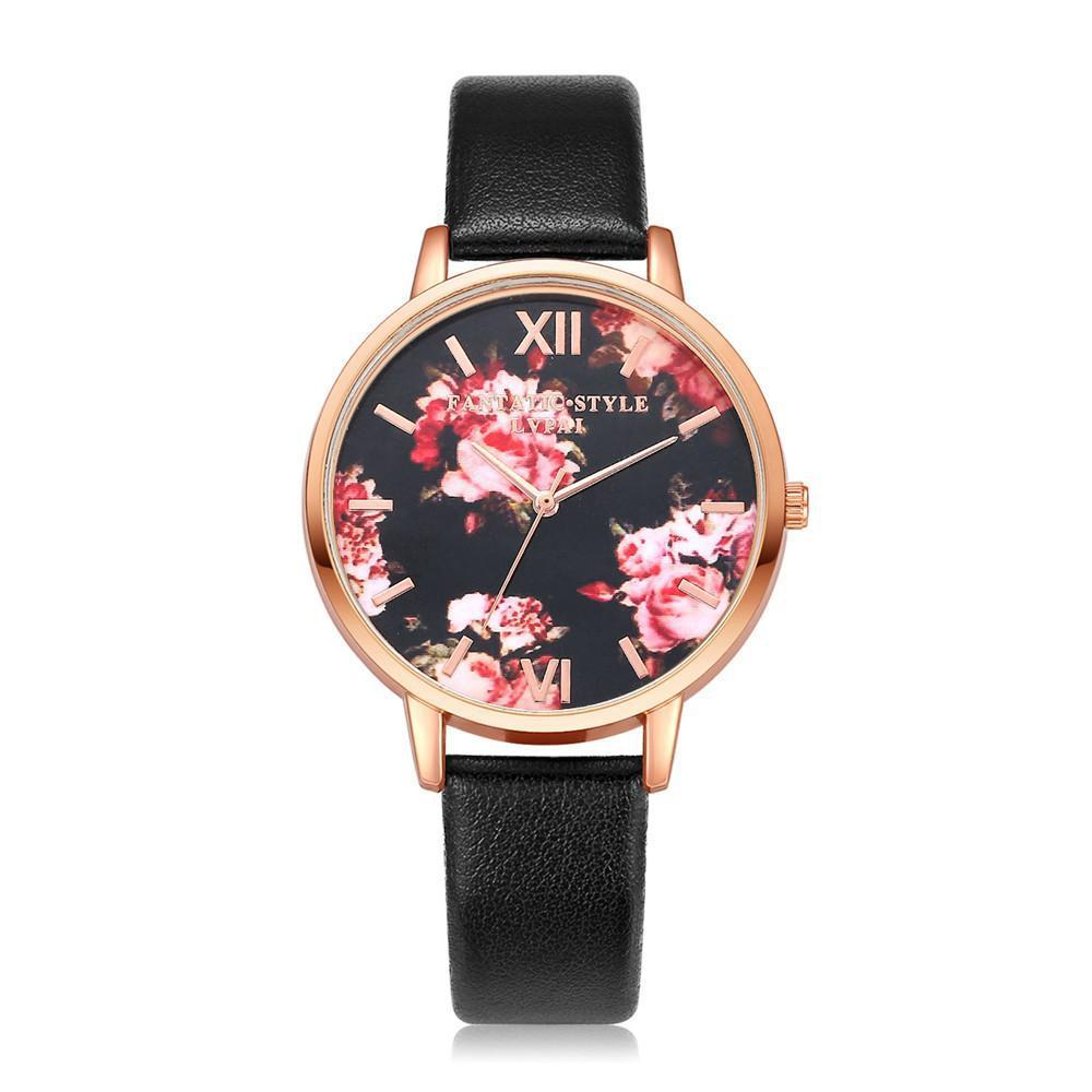 Watches-Black-PU Leather Floral Background Watch for a Woman's Vegan Lifestyle