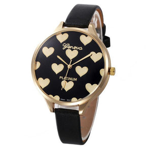 Watches-Black-PU Leather Heart Pattern Watch by Geneva for a Woman's Vegan Lifestyle