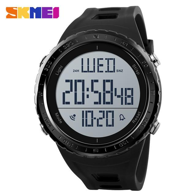Watches-Black-PU Leather Large LED Digital Sports Watch by Skmei for a Man's Vegan Lifestyle