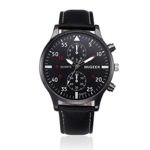 Watches-Black-PU Leather Military Business Wrist Watch by MiGeer for a Man's Vegan Lifestyle