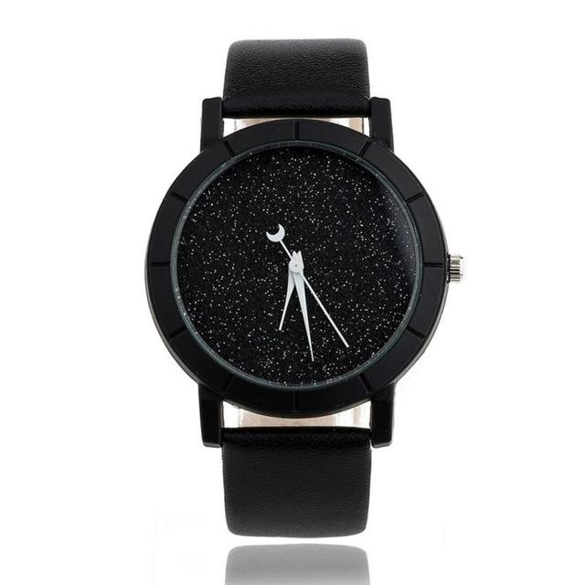 Watches-Black-PU Leather Moon Hand Watch for a Woman's Vegan Lifestyle
