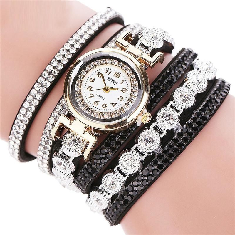 Watches-Black-PU Leather Multi-layer Rhinestone Bracelet Wrist Watch by CCQ for a Woman's Vegan Lifestyle