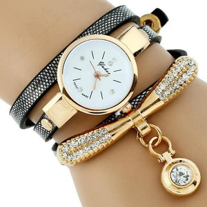 Watches-Black-PU Leather Rhinestone Bracelet Watch for a Woman's Vegan Lifestyle