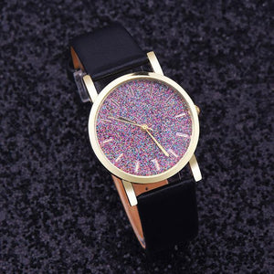 Watches-Black-PU Leather Speckled Effect Rhinestone Watch for a Woman's Vegan Lifestyle