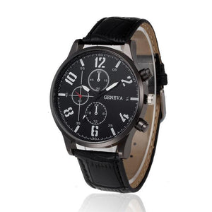 Watches-Black-PU Leather Sports Watch by Geneva for a Man's Vegan Lifestyle
