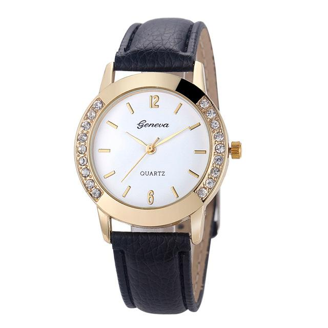 Watches-Black-PU Leather Watch by Geneva for a Woman's Vegan Lifestyle