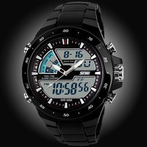 Watches-Black/Black Ring-PU Leather Digital Sports Watch for a Man's Vegan Lifestyle