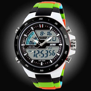 Watches-Black/Color Strap-PU Leather Digital Sports Watch for a Man's Vegan Lifestyle