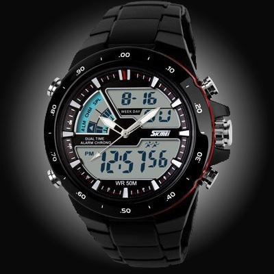 Watches-Black/Red Ring-PU Leather Digital Sports Watch for a Man's Vegan Lifestyle