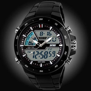 Watches-Black/White Ring-PU Leather Digital Sports Watch for a Man's Vegan Lifestyle